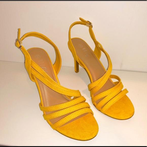 754633f227d8 Rouge yellow vegan material sandal high heels